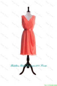 Gorgeous Empire V Neck Bridesmaid Dresses with Sashes in Watermelon