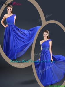 Cheap 2016 One Shoulder Blue 2016 Bridesmaid Dresses with Belt