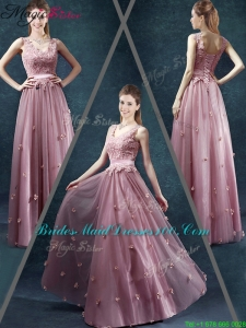 Classical V Neck 2016 Bridesmaid Dresses with Appliques and Belt