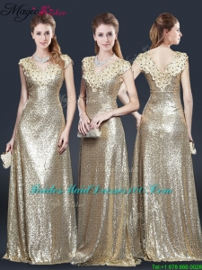 Perfect V Neck Sequins 2016 Bridesmaid Dresses in Champagne