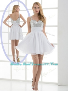 Fashionable Straps Sequins Short Simple Bridesmaid Dress for Graduation