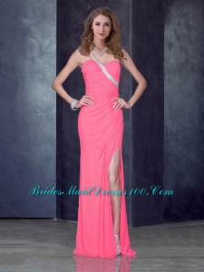 2016 Elegant One Shoulder Pink Prom Dress with High Slit and Beading