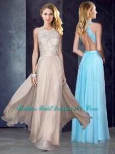 2016 Elegant Scoop Criss Cross Applique Prom Dress in Champagne