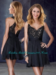 2016 V Neck Black Prom Dress with Appliques and Belt