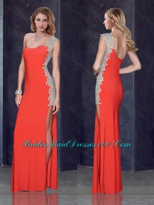 One Shoulder Red Prom Dress with Beading and Appliques