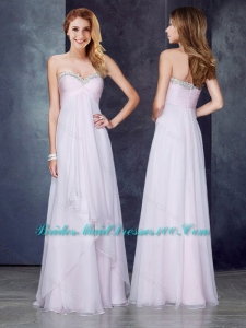 Discount Empire Applique and Ruched Prom Dress in Baby Pink