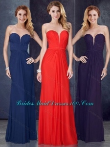 Discount Sweetheart Belted and Ruched Prom Dress in Navy Blue