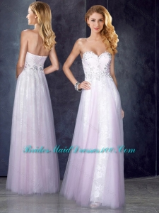 Empire Baby Pink Prom Dress with Beading and Appliques
