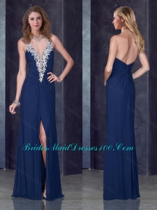 Sexy Navy Blue Halter Top Prom Dress with High Slit and Appliques