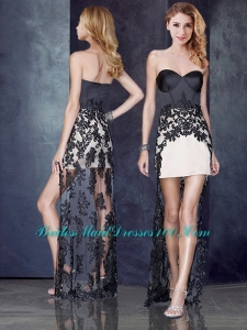 High Low Black and Champagne Prom Dress with Lace