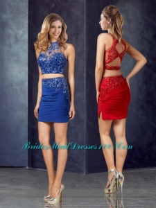 Lovely Two Piece Column Applique Prom Dress with High Neck
