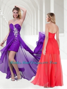 Pretty Beaded Empire Chiffon Long Prom Dress in Purple