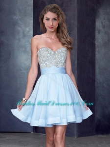 New Style Beaded Sweetheart Short Prom Dress in Light Blue