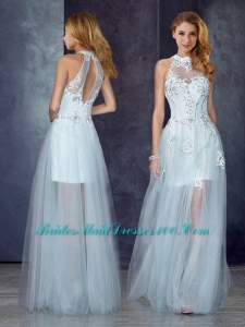 Short Inside Long Outside High Neck Light Blue Prom Dress with Appliques and Beading