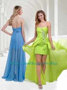 Classical Chiffon Beaded Yellow Green Long Prom Dress with Empire