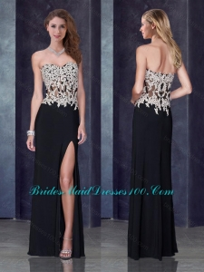 Column Black Prom Dress with High Slit and Appliques