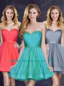 Low Price Turquoise Short Prom Dress with Belt