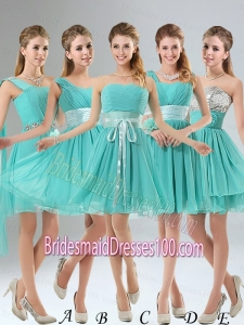 2015 A Line Ruching Lace Up Bridesmaid Dress in Aqua Blue