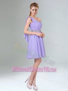2015 Sassy Beaded and Ruched Short Bridesmaid Dress in Lavender