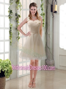 Champagne Ruched Handmade Flowers One Shoulder 2015 Bridesmaid Dresses