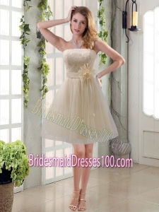 Handmade Flower Strapless Lace Bridesmaid Dress with Mini Length
