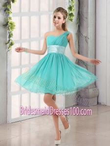 Natural One Shoulder A Line Ruching Lace Up Bridesmaid Dress