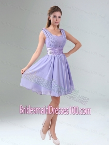 Perfect Straps Lavender Ruched Mini Length Bridesmaid Dress with Waistband