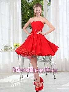 Pretty Ruching Strapless A Line Bridesmaid Dresses for 2015
