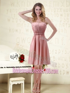 Sassy Sweetheart Ruched Bridesmaid Dresses in Chiffon with Waistband