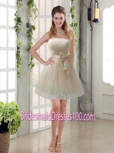 Simple Ruching Strapless Princess Bridesmaid Dress with Bowknot