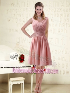 V Neck Empire Chiffon Ruching Bridesmaide Dresses for 2015