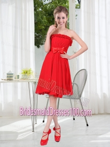 Wonderful Ruching Strapless Bowknot Bridesmaid Dress in Red