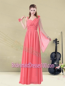 Stunning Asymmetrical Column Ruched Bridesmaid Dress