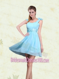 A Line Straps Bridesmaid Dresses with Ruching and Bowknot