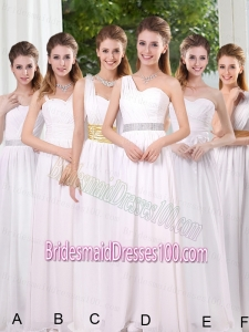 White Ruching Empire Bridesmaid Dresses for 2015