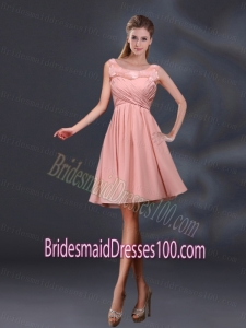 Bateau A Line Bridesmaid Dresses with Appliques and Ruching