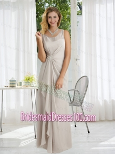 Column Appliques and Ruching Bridesmaid Dresses with Scoop