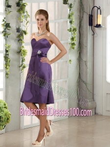 Discount Belt Column Bridesmaid Dresses in Eggplant Purple
