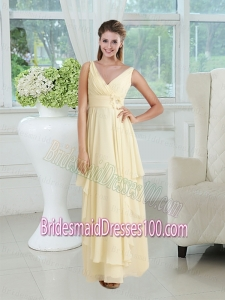 Discount V Neck Chiffon Bridesmaid Dress with Appliques and Ruching