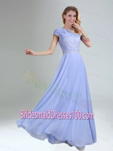 One Shoulder Belt Empire 2015 Appliques Bridesmaid Dress in Lavender