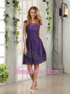 2015 Discount Bateau Lace Bridesmaid Dress with Cap Sleeves
