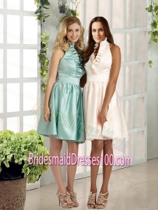 2015 Discount Ruffles Backless Bridesmaid Dress with Halter