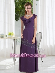 Empire 2015 Purple Ruching Bridesmaid Dress with Cap Sleeves