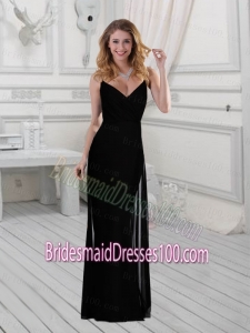 2015 Discount Column Black Floor Length Bridesmaid Dress with Spaghetti Straps