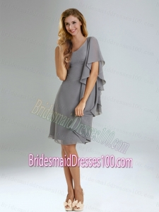 2015 Discount Empire Ruffles Chiffon Bridesmaid Dresses in Grey