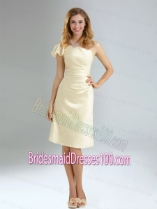 2015 Discount One Shoulder Cap Sleeve Bridesmaid Dresses with Ruching