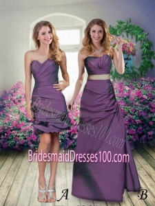 Discount Eggplant Purple Sweetheart Taffeta Column Bridesmaid Dresses with Ruching