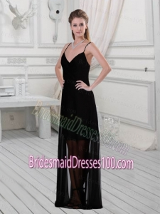 2015 Discount Spaghetti Straps Column Black Bridesmaid Dress with Floor Length