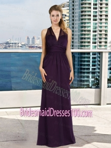 Discount V Neck Empire Ruching Dark Purple Bridesmaid Dress with Floor Length