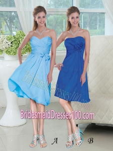 Discount Blue Colored Short Bridesmaid Dresses for Wedding